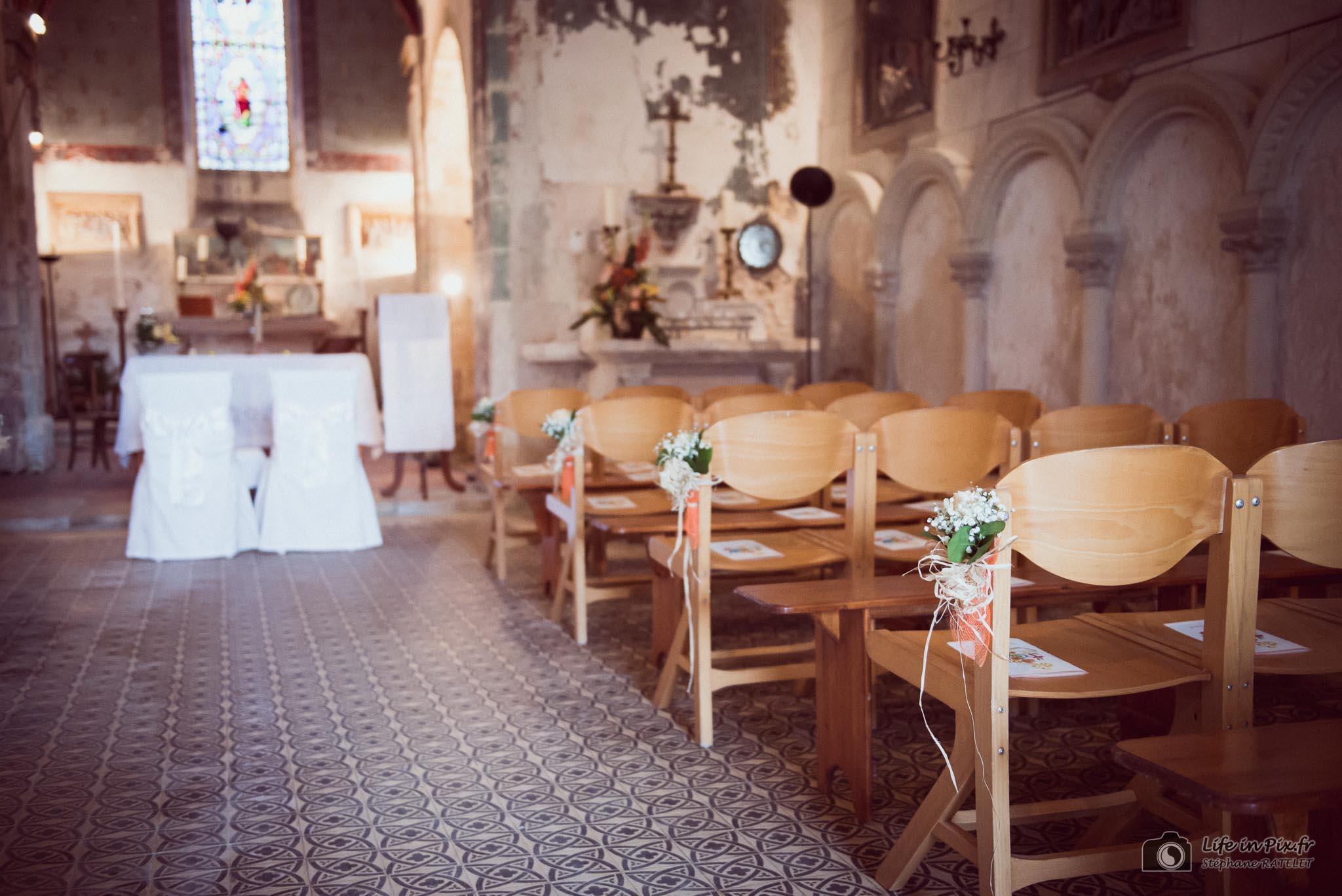 fleurs de bancs église - organisation de mariage dans l'oise